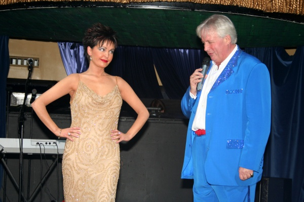 Wearing Dame Shirley Bassey's Gold Dress, With Christopher Biggins, London