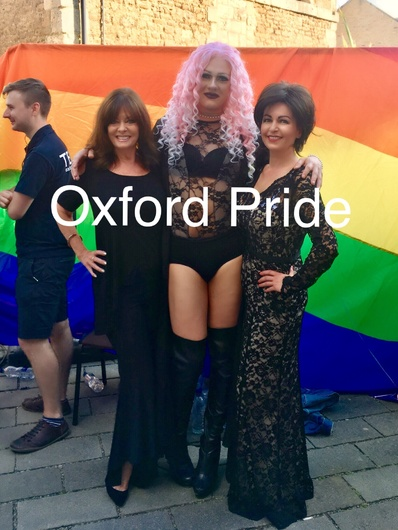 With Vicki Michelle (Yvette Carte-Blanche, from the TV Show, Allo Allo) and Lady B, at Oxford Pride