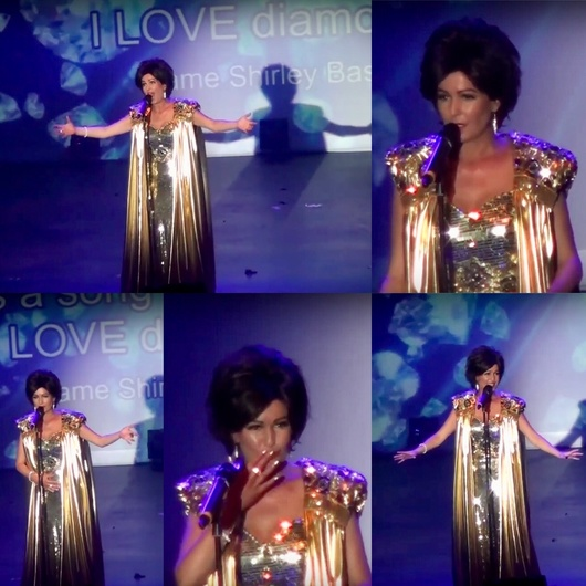 The Girl From Tiger Bay - The Dame Shirley Bassey Story. Screen shots, taken from live theatre footage. Gold dress collage......